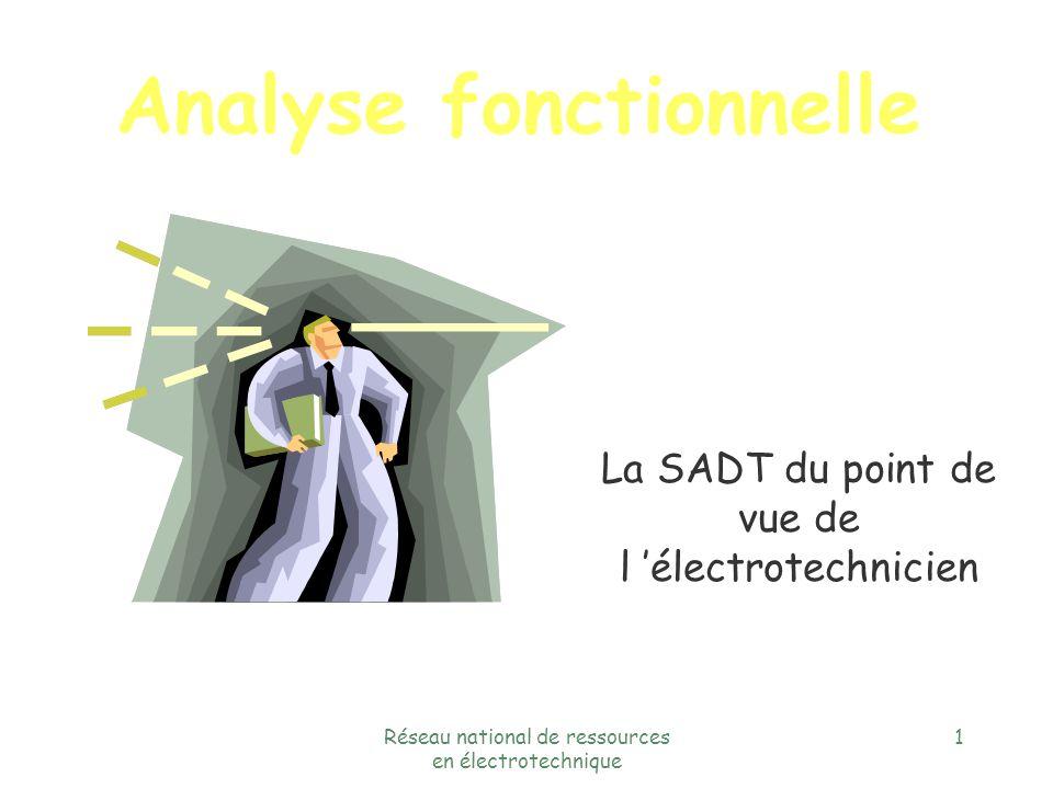 Réseau national de ressources en électrotechnique 1 Analyse fonctionnelle La SADT du point de vue de l électrotechnicien
