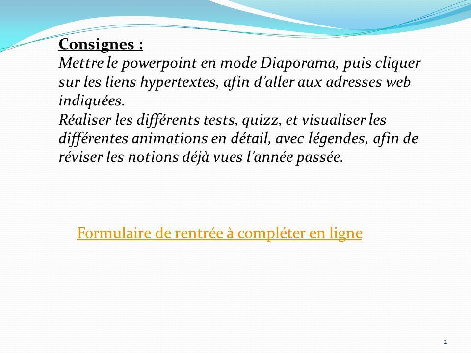 2 Formulaire de rentrée à compléter en ligne Consignes : Mettre le powerpoint en mode Diaporama, puis cliquer sur les liens hypertextes, afin daller aux adresses web indiquées.