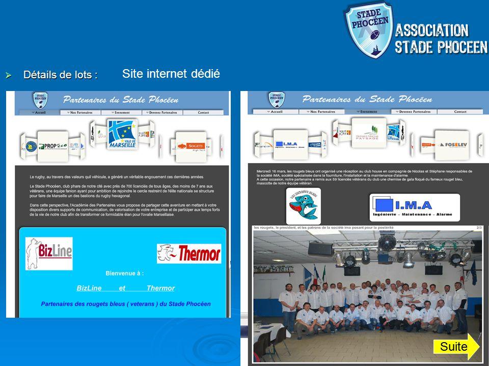 Détails de lots : Détails de lots : Site internet dédié Suite