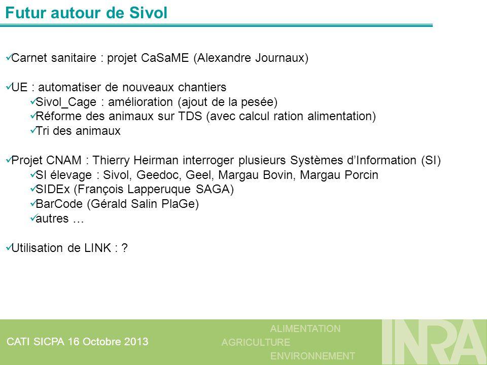 ALIMENTATION AGRICULTURE ENVIRONNEMENT CATI SICPA 16 Octobre 2013 Futur autour de Sivol Carnet sanitaire : projet CaSaME (Alexandre Journaux) UE : aut