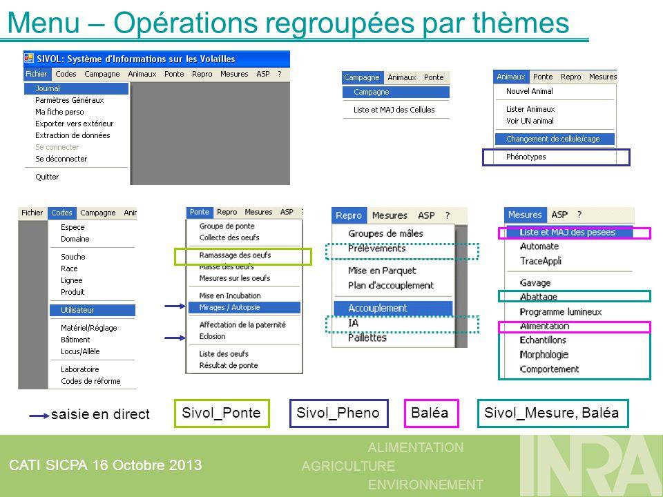 ALIMENTATION AGRICULTURE ENVIRONNEMENT CATI SICPA 16 Octobre 2013 Menu – Opérations regroupées par thèmes saisie en direct Sivol_Mesure, BaléaSivol_Po