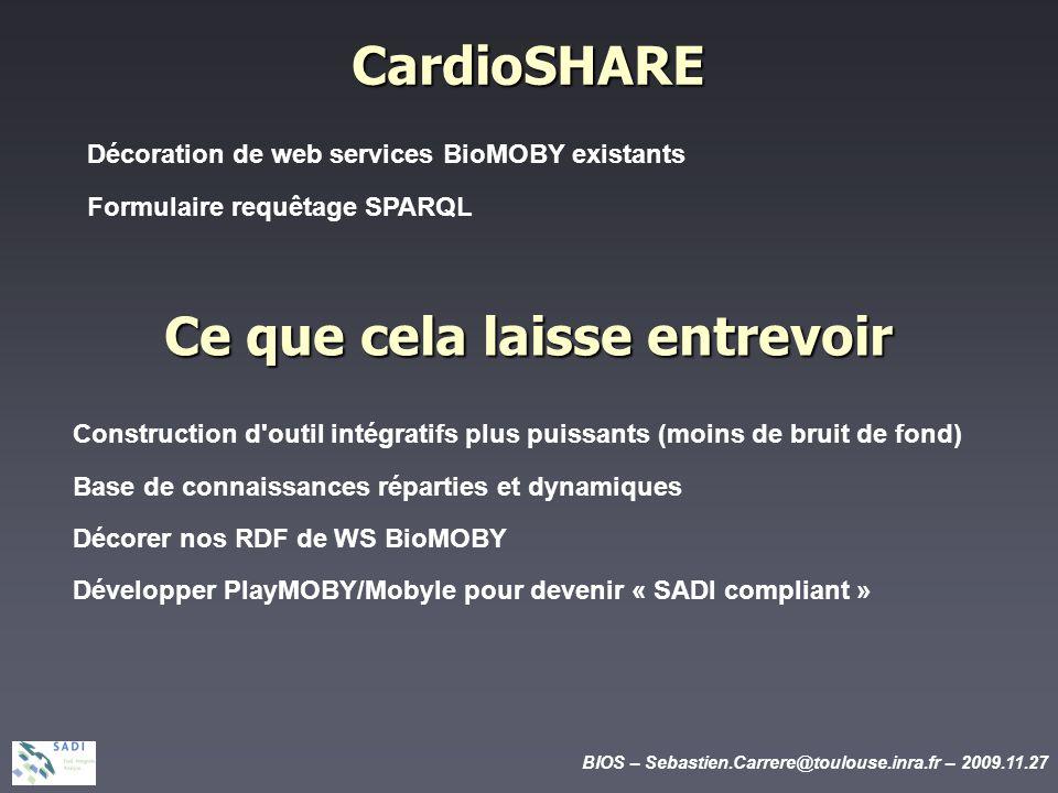 BIOS – Sebastien.Carrere@toulouse.inra.fr – 2009.11.27 CardioSHARE Décoration de web services BioMOBY existants Formulaire requêtage SPARQL Ce que cela laisse entrevoir Construction d outil intégratifs plus puissants (moins de bruit de fond) Base de connaissances réparties et dynamiques Décorer nos RDF de WS BioMOBY Développer PlayMOBY/Mobyle pour devenir « SADI compliant »