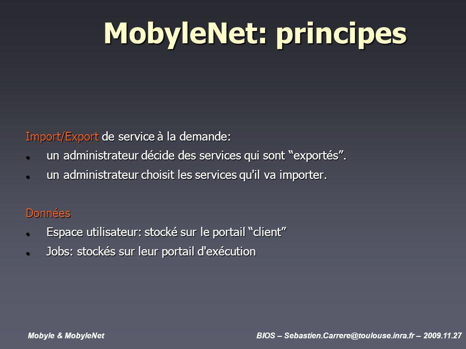 Mobyle & MobyleNetBIOS – Sebastien.Carrere@toulouse.inra.fr – 2009.11.27 MobyleNet: principes Import/Export de service à la demande: un administrateur décide des services qui sont exportés.