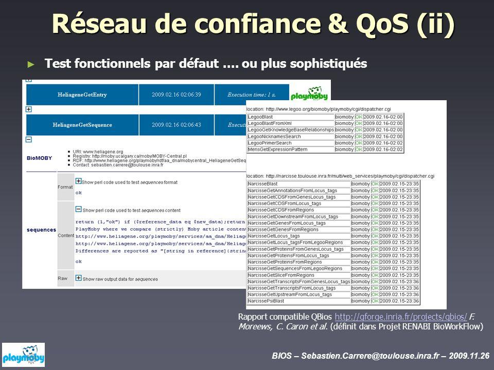 BIOS – Sebastien.Carrere@toulouse.inra.fr – 2009.11.26 Réseau de confiance & QoS (ii) Test fonctionnels par défaut.... ou plus sophistiqués Rapport co