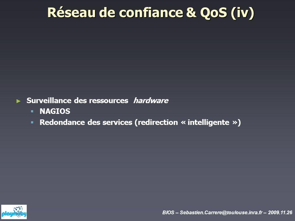 BIOS – Sebastien.Carrere@toulouse.inra.fr – 2009.11.26 Réseau de confiance & QoS (iv) Surveillance des ressources hardware NAGIOS Redondance des servi