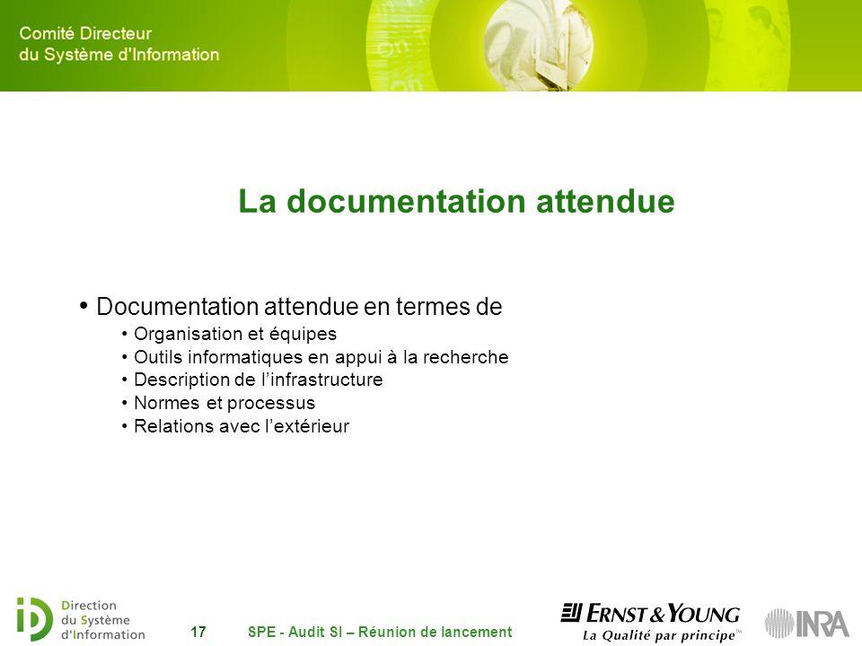 SPE - Audit SI – Réunion de lancement17 La documentation attendue Documentation attendue en termes de Organisation et équipes Outils informatiques en