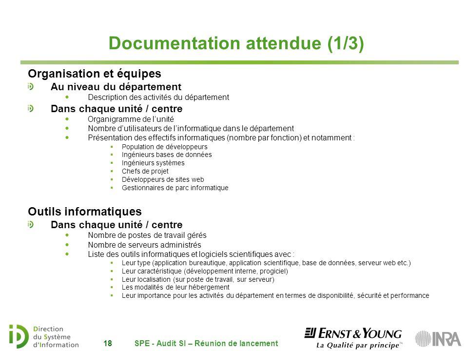 Documentation attendue (1/3) Organisation et équipes Au niveau du département Description des activités du département Dans chaque unité / centre Orga
