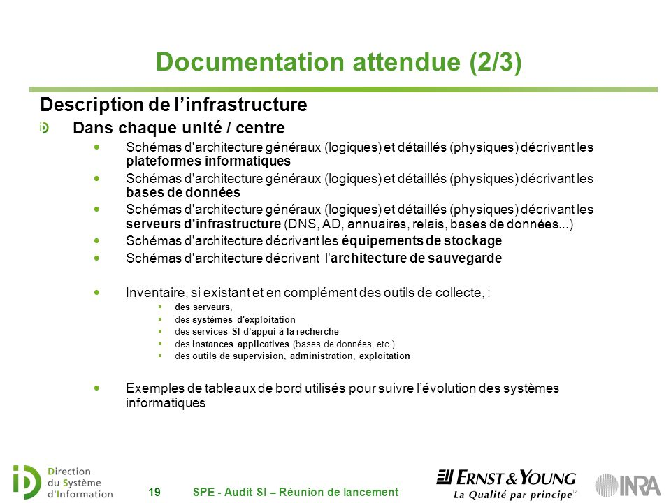Documentation attendue (2/3) Description de linfrastructure Dans chaque unité / centre Schémas d'architecture généraux (logiques) et détaillés (physiq