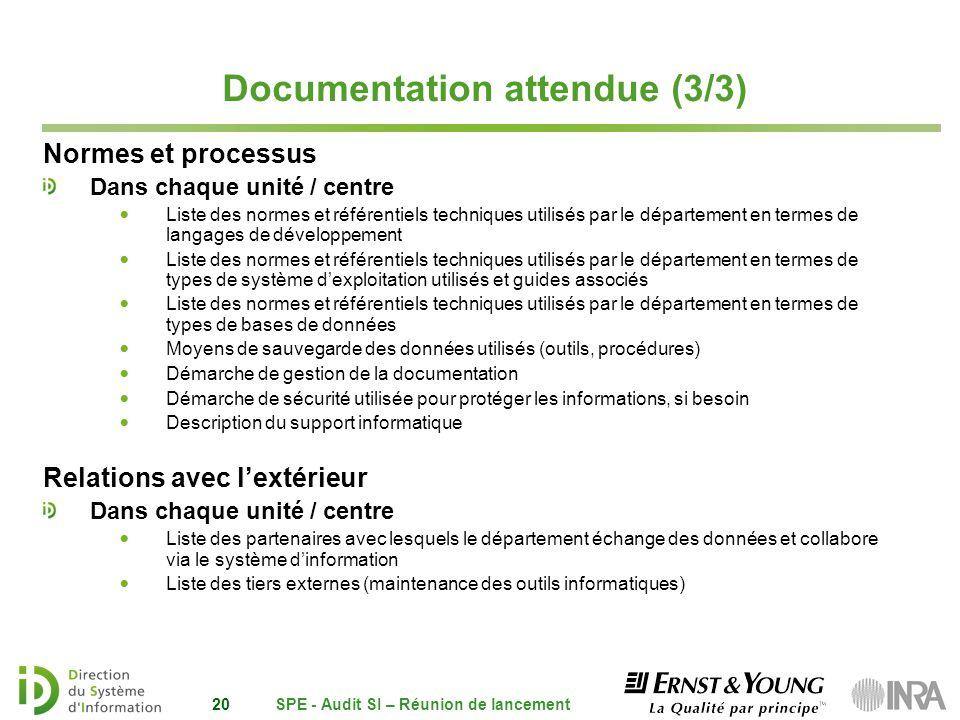 Documentation attendue (3/3) Normes et processus Dans chaque unité / centre Liste des normes et référentiels techniques utilisés par le département en