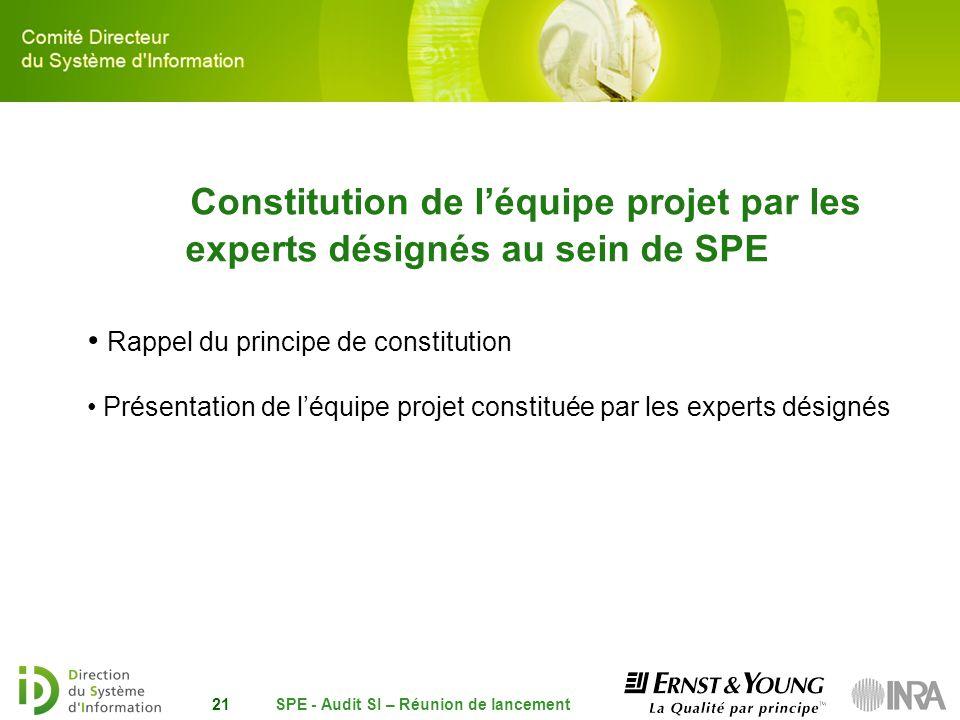 SPE - Audit SI – Réunion de lancement21 Constitution de léquipe projet par les experts désignés au sein de SPE Rappel du principe de constitution Prés