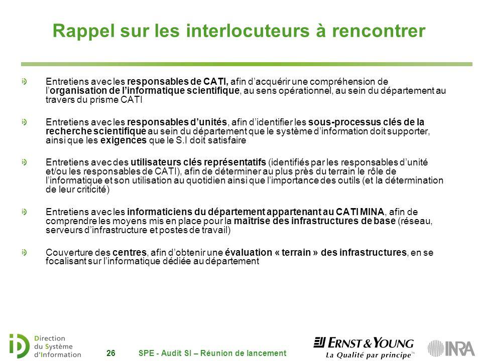 SPE - Audit SI – Réunion de lancement26 Rappel sur les interlocuteurs à rencontrer Entretiens avec les responsables de CATI, afin dacquérir une compré