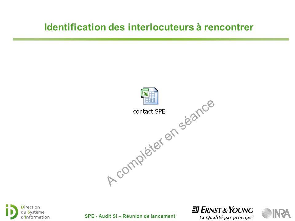 A compléter en séance Identification des interlocuteurs à rencontrer SPE - Audit SI – Réunion de lancement