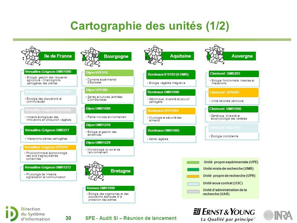 Auvergne Ile de France 30 Unité mixte de recherche (UMR) Unité propre expérimentale (UPE) Unité propre de recherche (UPR) Bourgogne Aquitaine Unité da