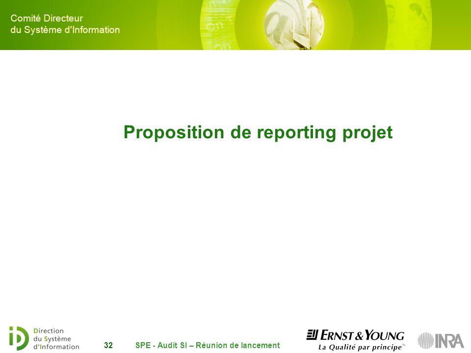 SPE - Audit SI – Réunion de lancement32 Proposition de reporting projet
