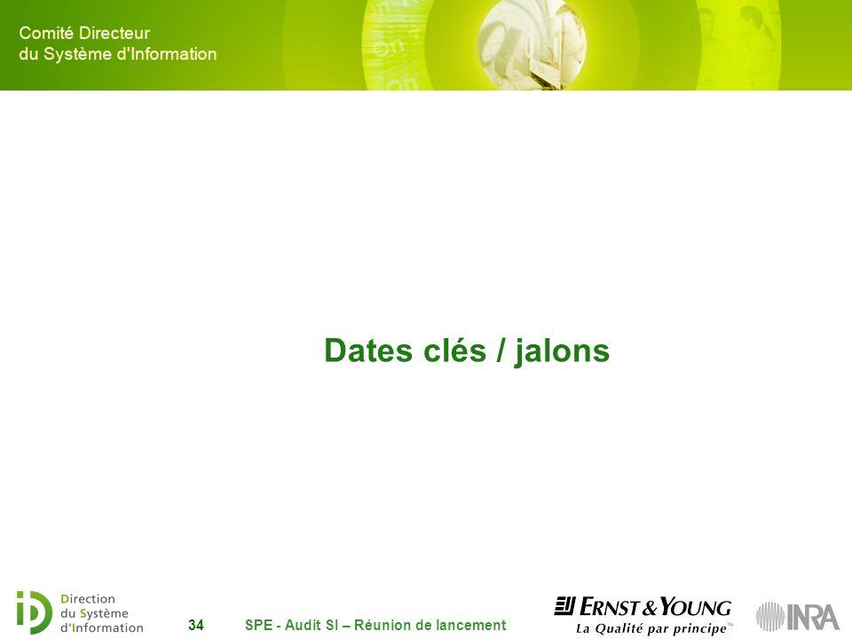 SPE - Audit SI – Réunion de lancement34 Dates clés / jalons