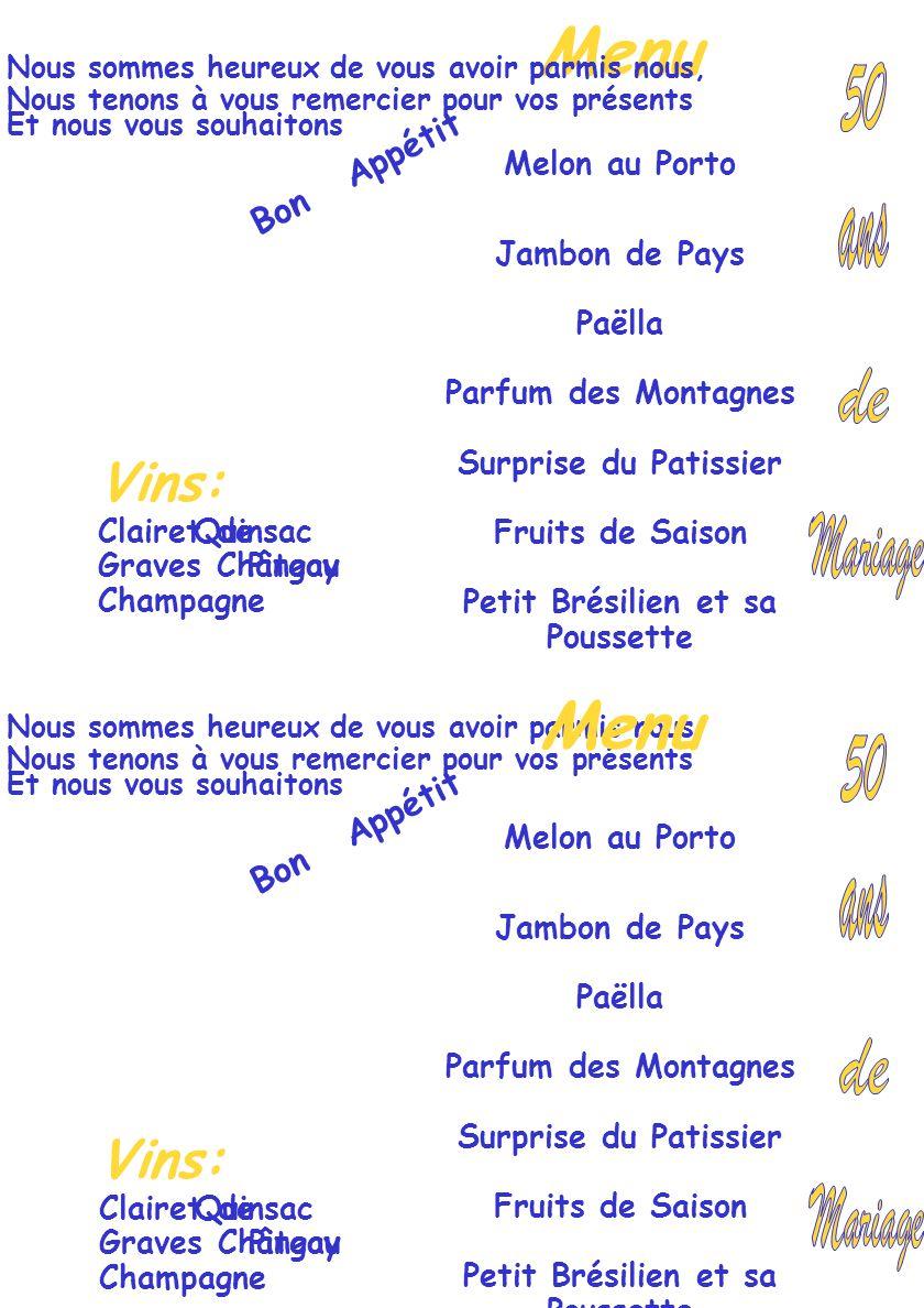 Nous sommes heureux de vous avoir parmis nous Nous tenons à vous remercier pour vos présents Et nous vous souhaitons Bon Appétit Menu Melon au Porto Jambon de Pays Paëlla Parfum des Montagnes Surprise du Patissier Fruits de Saison Petit Brésilien et sa Poussette Vins: Clairet deQuinsac Graves ChâteauPingoy Champagne Nous sommes heureux de vous avoir parmis nous, Nous tenons à vous remercier pour vos présents Et nous vous souhaitons Bon Appétit Menu Melon au Porto Jambon de Pays Paëlla Parfum des Montagnes Surprise du Patissier Fruits de Saison Petit Brésilien et sa Poussette Vins: Clairet deQuinsac Graves ChâteauPingoy Champagne