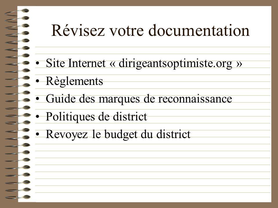 Révisez votre documentation Site Internet « dirigeantsoptimiste.org » Règlements Guide des marques de reconnaissance Politiques de district Revoyez le budget du district