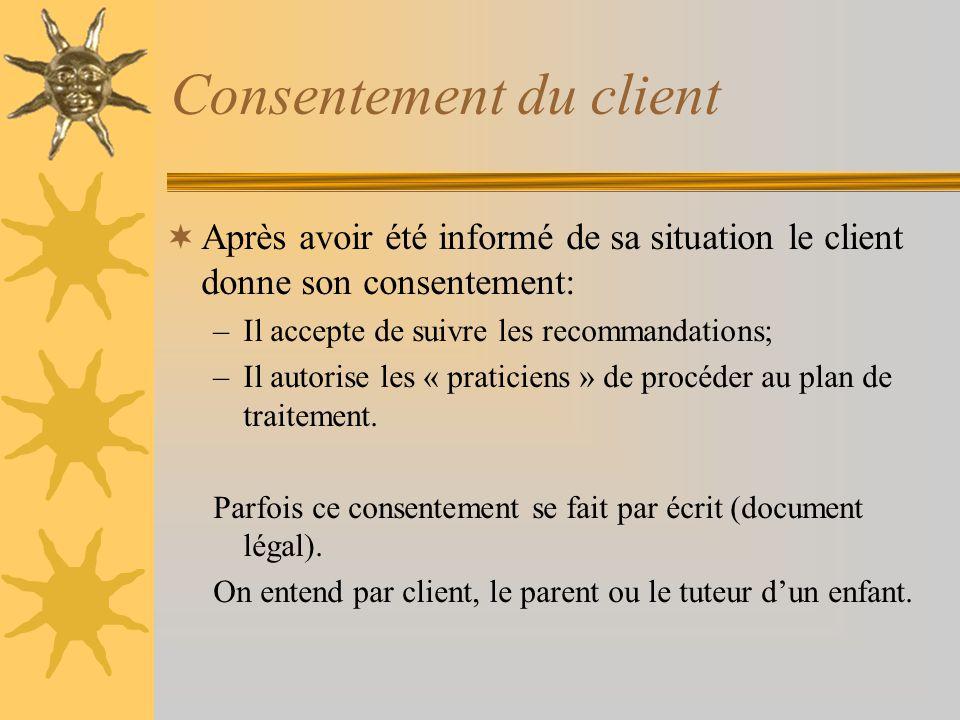 Phase de suivi Suivi professionnel régulier –Fréquence des rendez-vous Enseignement au client selon les modifications survenues entre les visites