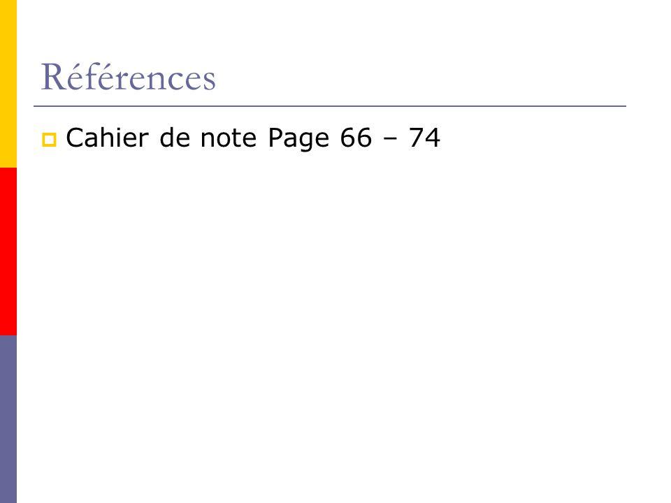 Références Cahier de note Page 66 – 74