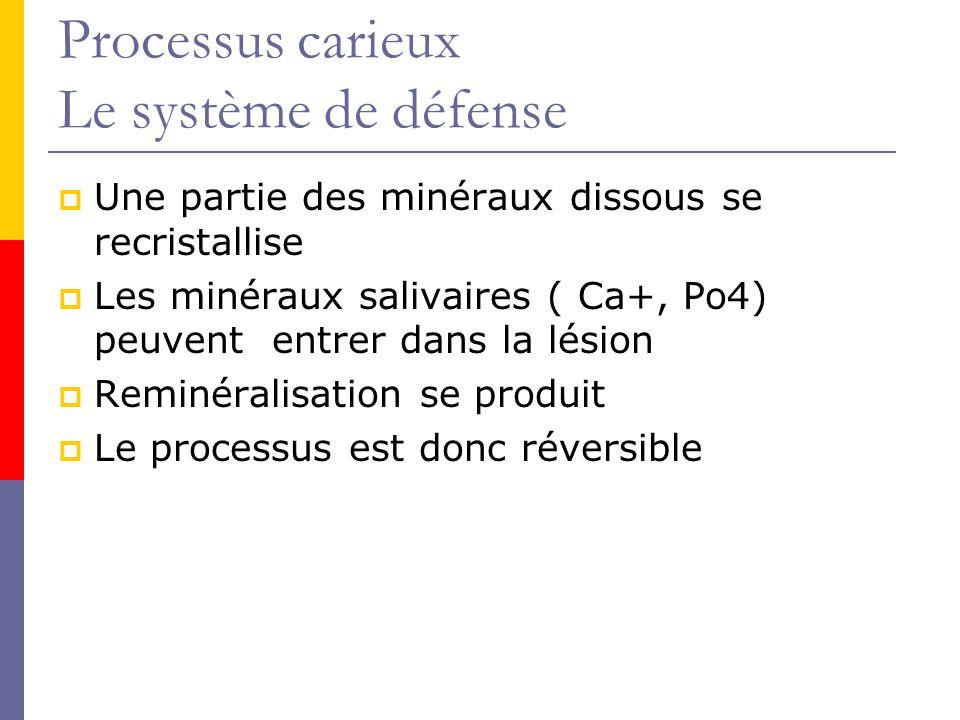 Processus carieux Le système de défense Une partie des minéraux dissous se recristallise Les minéraux salivaires ( Ca+, Po4) peuvent entrer dans la lésion Reminéralisation se produit Le processus est donc réversible