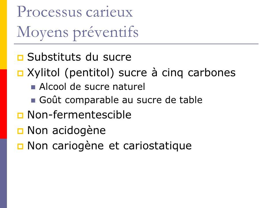Processus carieux Moyens préventifs Substituts du sucre Xylitol (pentitol) sucre à cinq carbones Alcool de sucre naturel Goût comparable au sucre de table Non-fermentescible Non acidogène Non cariogène et cariostatique