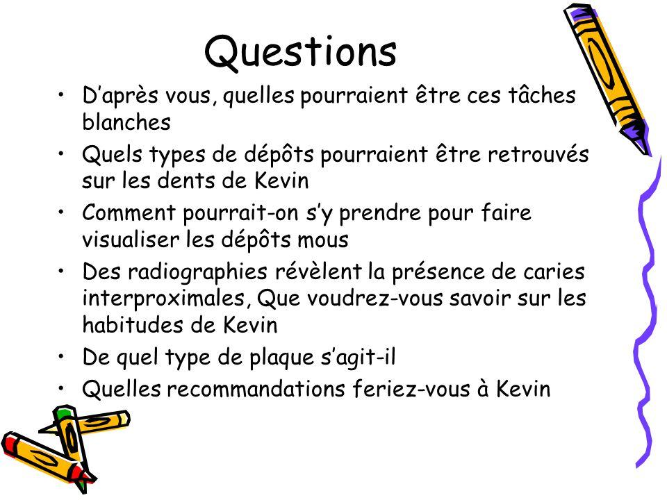Questions Daprès vous, quelles pourraient être ces tâches blanches Quels types de dépôts pourraient être retrouvés sur les dents de Kevin Comment pourrait-on sy prendre pour faire visualiser les dépôts mous Des radiographies révèlent la présence de caries interproximales, Que voudrez-vous savoir sur les habitudes de Kevin De quel type de plaque sagit-il Quelles recommandations feriez-vous à Kevin