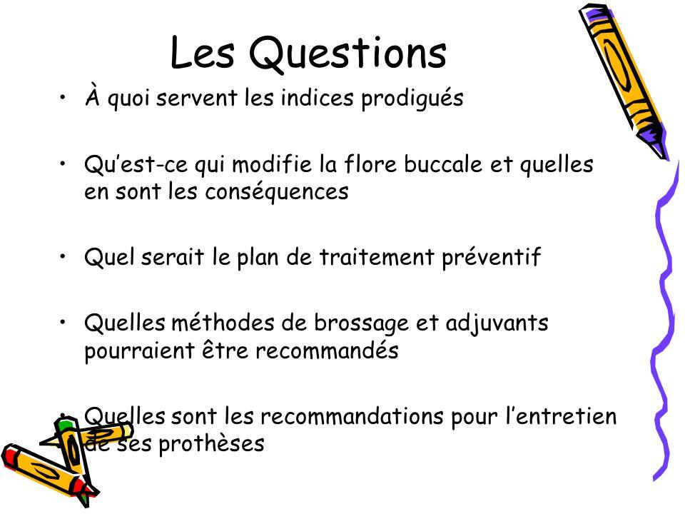 Les Questions À quoi servent les indices prodigués Quest-ce qui modifie la flore buccale et quelles en sont les conséquences Quel serait le plan de traitement préventif Quelles méthodes de brossage et adjuvants pourraient être recommandés Quelles sont les recommandations pour lentretien de ses prothèses
