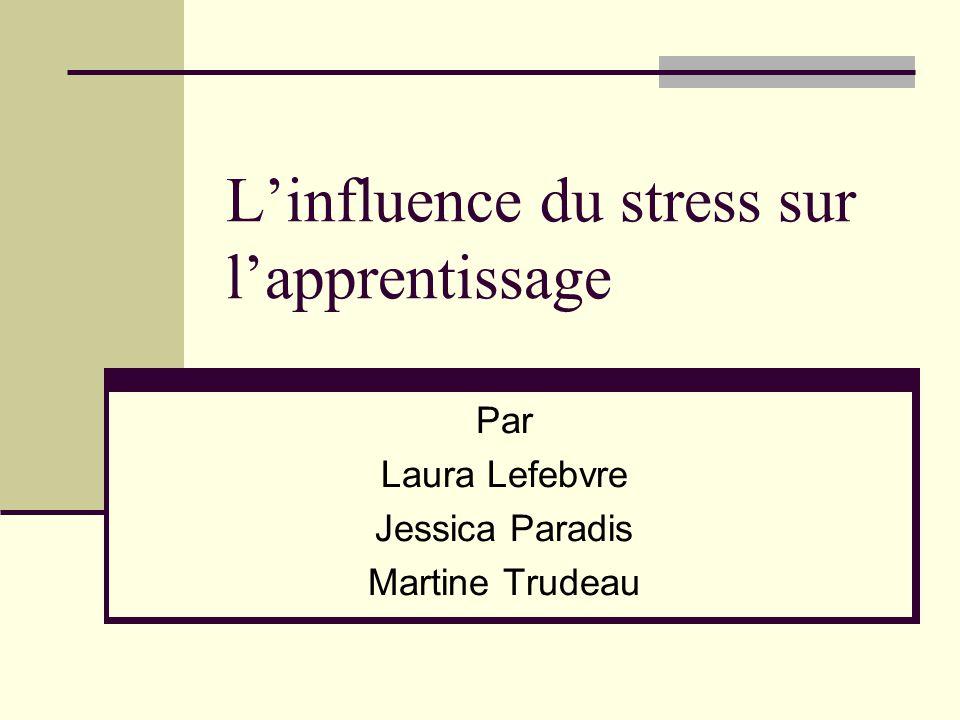 Linfluence du stress sur lapprentissage Par Laura Lefebvre Jessica Paradis Martine Trudeau
