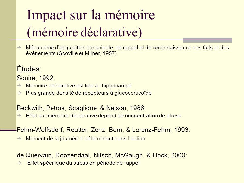 Impact sur la mémoire ( mémoire déclarative) Mécanisme dacquisition consciente, de rappel et de reconnaissance des faits et des événements (Scoville e
