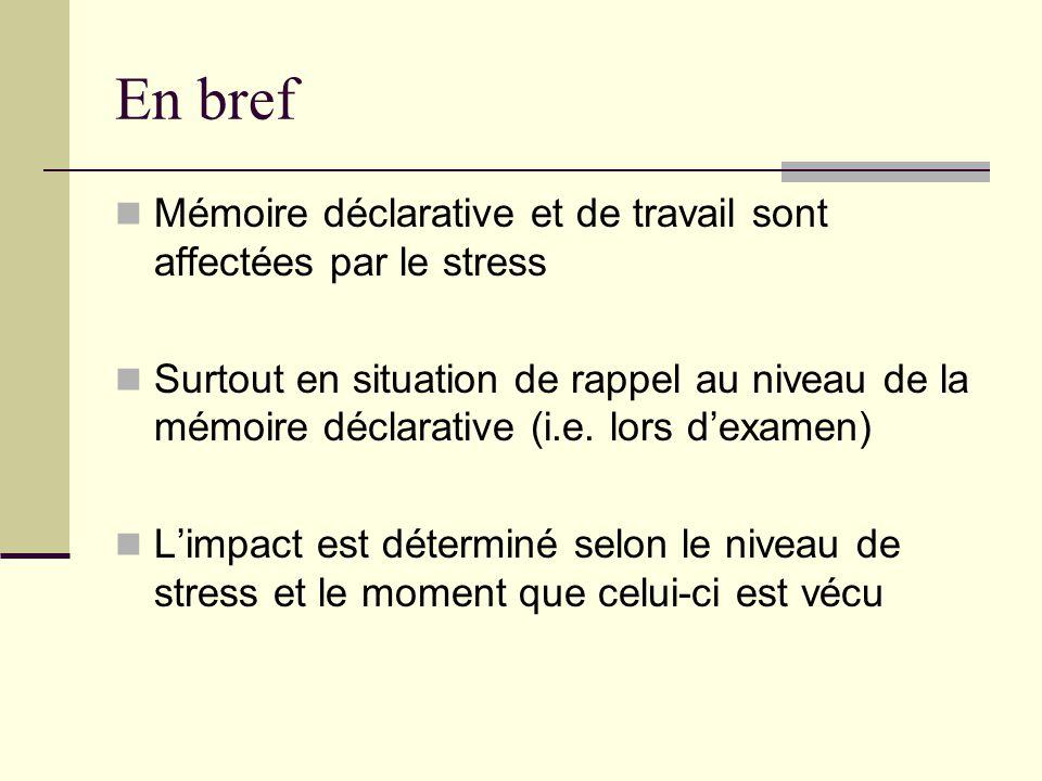En bref Mémoire déclarative et de travail sont affectées par le stress Surtout en situation de rappel au niveau de la mémoire déclarative (i.e. lors d