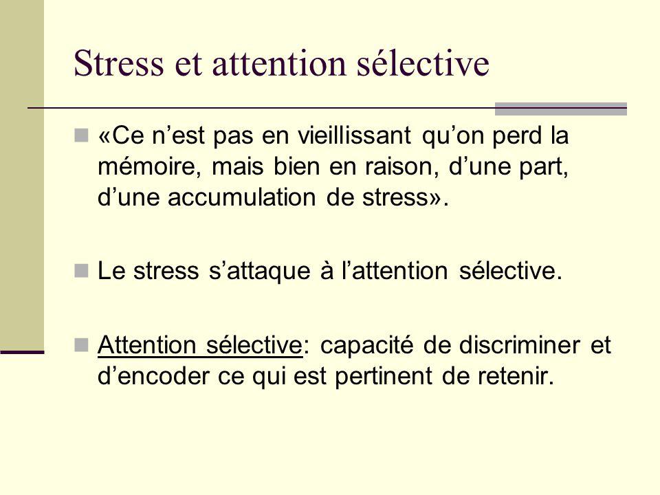 Stress et attention sélective «Ce nest pas en vieillissant quon perd la mémoire, mais bien en raison, dune part, dune accumulation de stress». Le stre