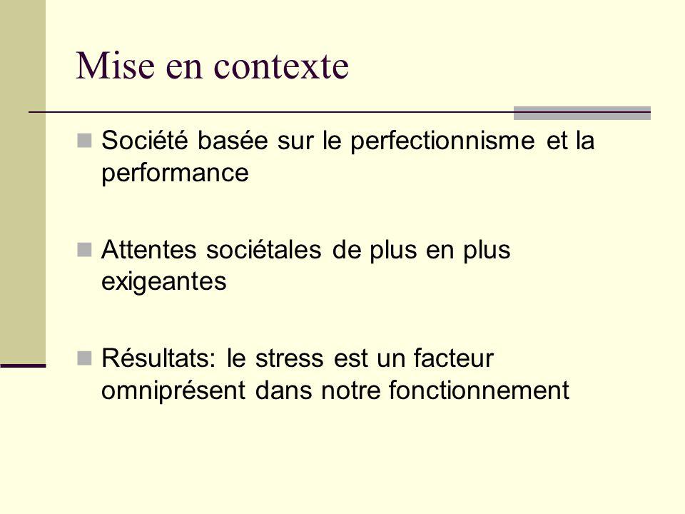 Mise en contexte Société basée sur le perfectionnisme et la performance Attentes sociétales de plus en plus exigeantes Résultats: le stress est un fac