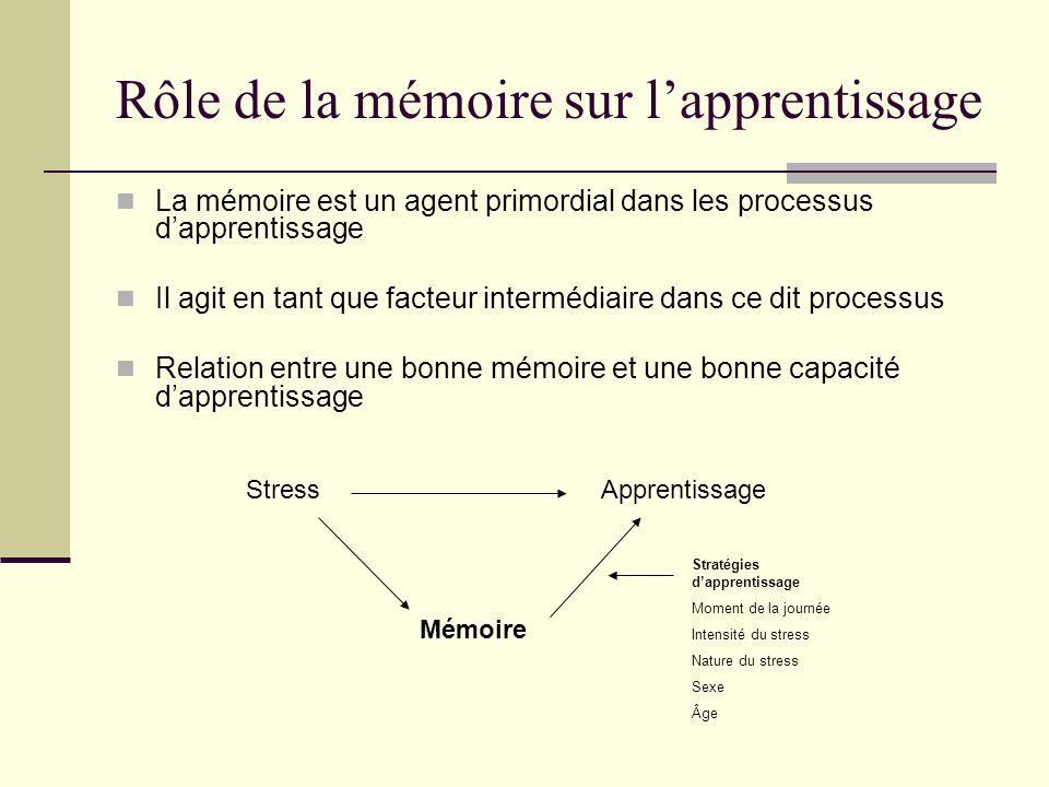 Rôle de la mémoire sur lapprentissage La mémoire est un agent primordial dans les processus dapprentissage Il agit en tant que facteur intermédiaire d