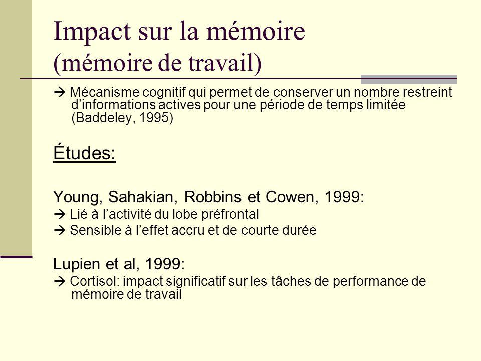 Impact sur la mémoire ( mémoire déclarative) Mécanisme dacquisition consciente, de rappel et de reconnaissance des faits et des événements (Scoville et Milner, 1957) Études: Squire, 1992: Mémoire déclarative est liée à lhippocampe Plus grande densité de récepteurs à glucocorticoïde Beckwith, Petros, Scaglione, & Nelson, 1986: Effet sur mémoire déclarative dépend de concentration de stress Fehm-Wolfsdorf, Reutter, Zenz, Born, & Lorenz-Fehm, 1993: Moment de la journée = déterminant dans laction de Quervain, Roozendaal, Nitsch, McGaugh, & Hock, 2000: Effet spécifique du stress en période de rappel
