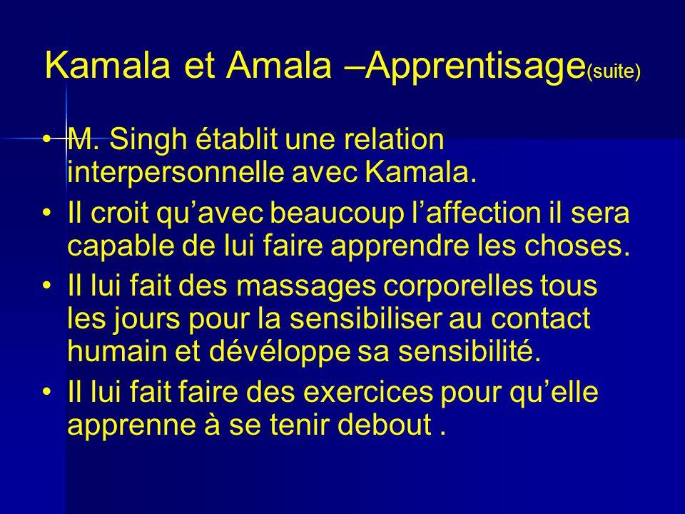 Kamala et Amala –Apprentisage (suite) M.Singh établit une relation interpersonnelle avec Kamala.