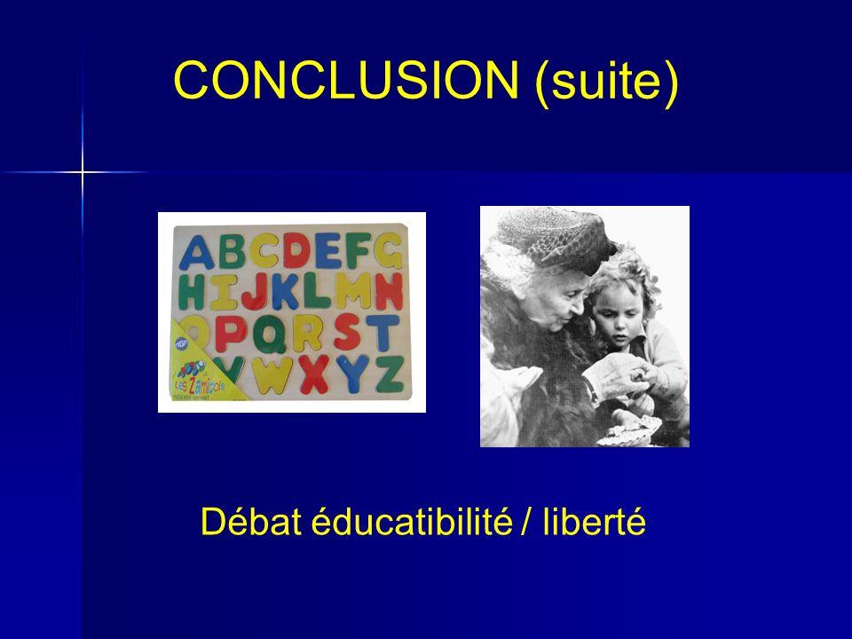 CONCLUSION (suite) Débat éducatibilité / liberté
