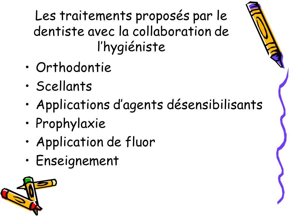 Les traitements proposés par le dentiste avec la collaboration de lhygiéniste Orthodontie Scellants Applications dagents désensibilisants Prophylaxie Application de fluor Enseignement