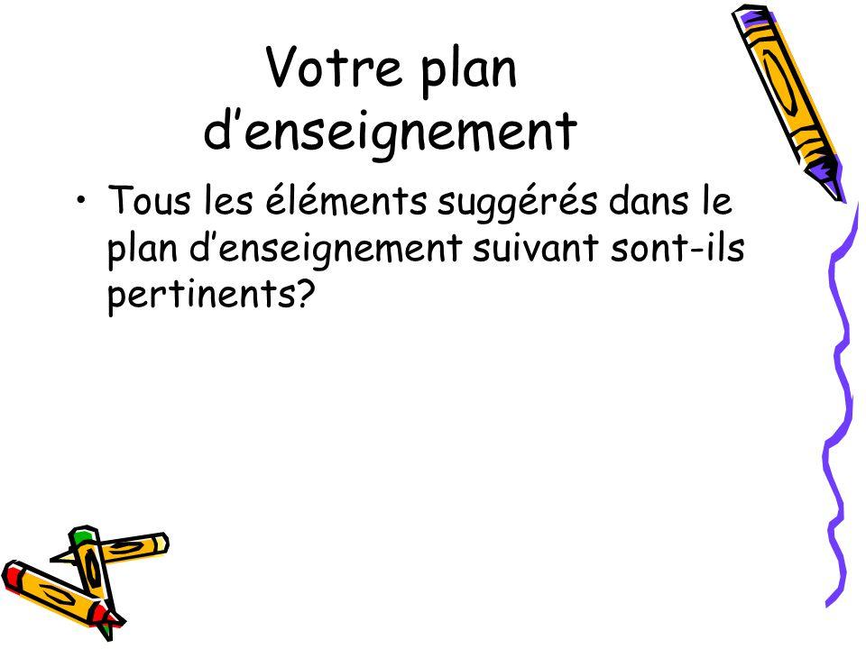 Votre plan denseignement Tous les éléments suggérés dans le plan denseignement suivant sont-ils pertinents