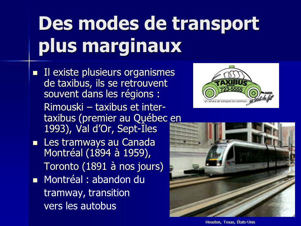 Des modes de transport plus marginaux Il existe plusieurs organismes de taxibus, ils se retrouvent souvent dans les régions : Il existe plusieurs orga
