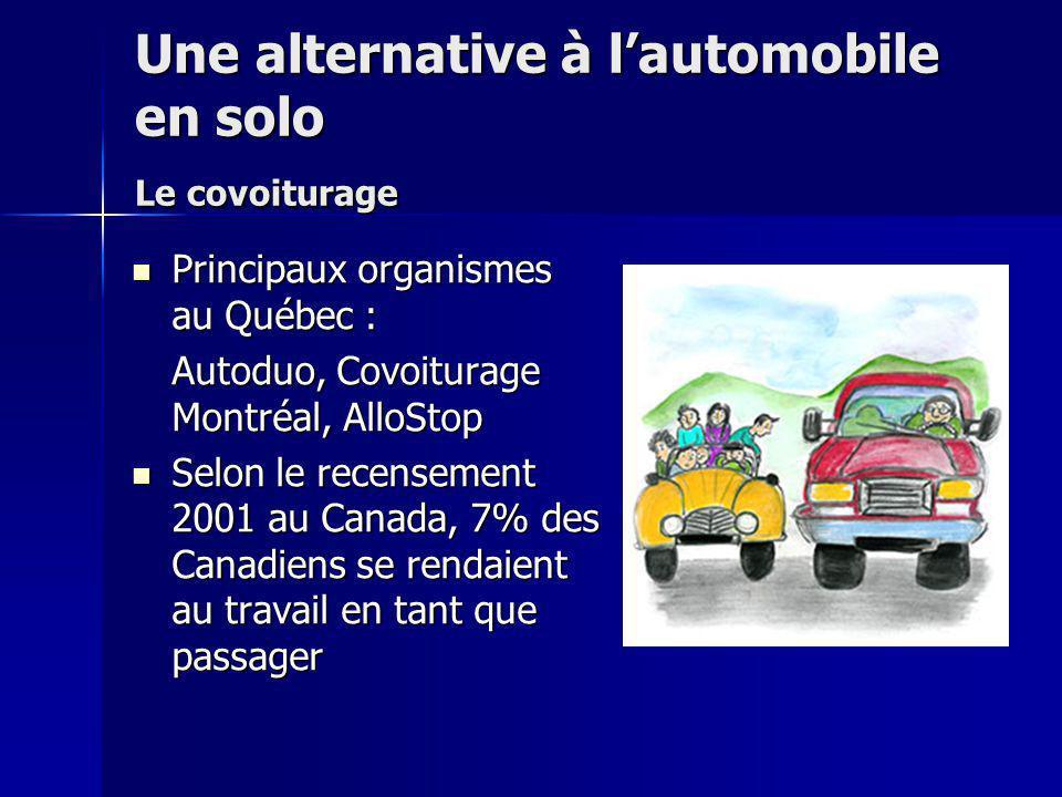 Une alternative à lautomobile en solo Le covoiturage Principaux organismes au Québec : Principaux organismes au Québec : Autoduo, Covoiturage Montréal