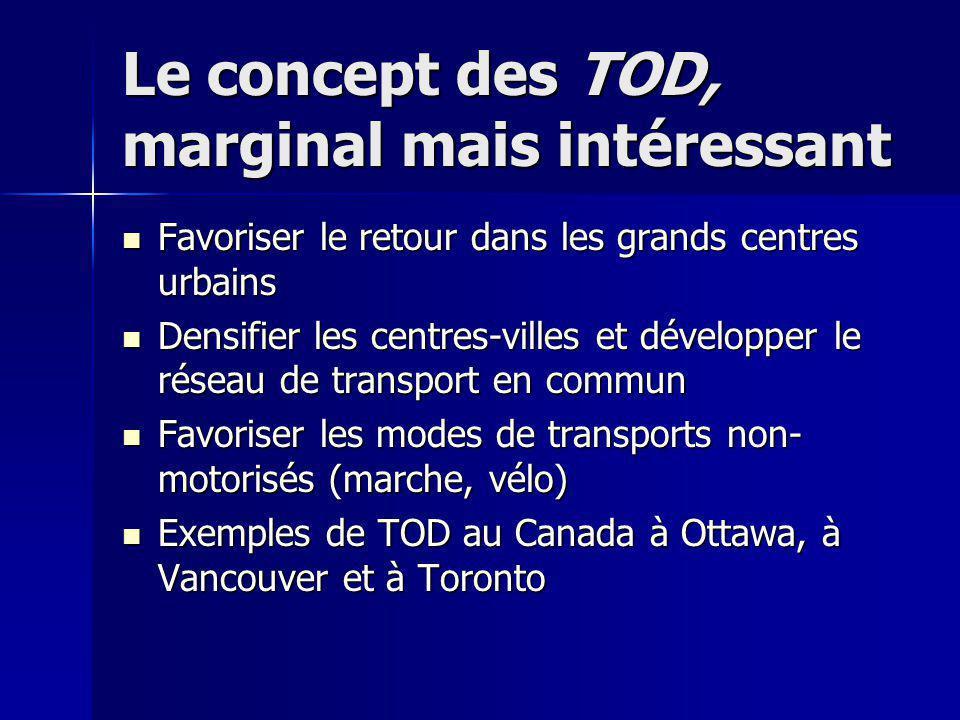 Le concept des TOD, marginal mais intéressant Favoriser le retour dans les grands centres urbains Favoriser le retour dans les grands centres urbains