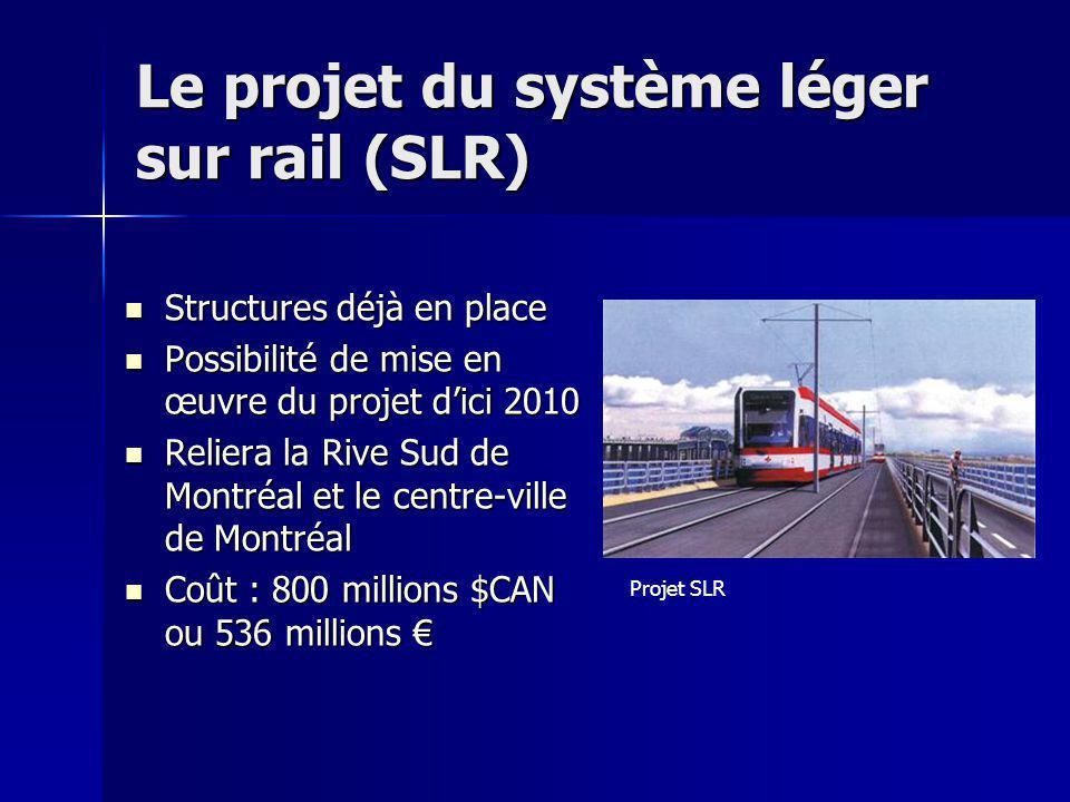 Le projet du système léger sur rail (SLR) Structures déjà en place Structures déjà en place Possibilité de mise en œuvre du projet dici 2010 Possibili