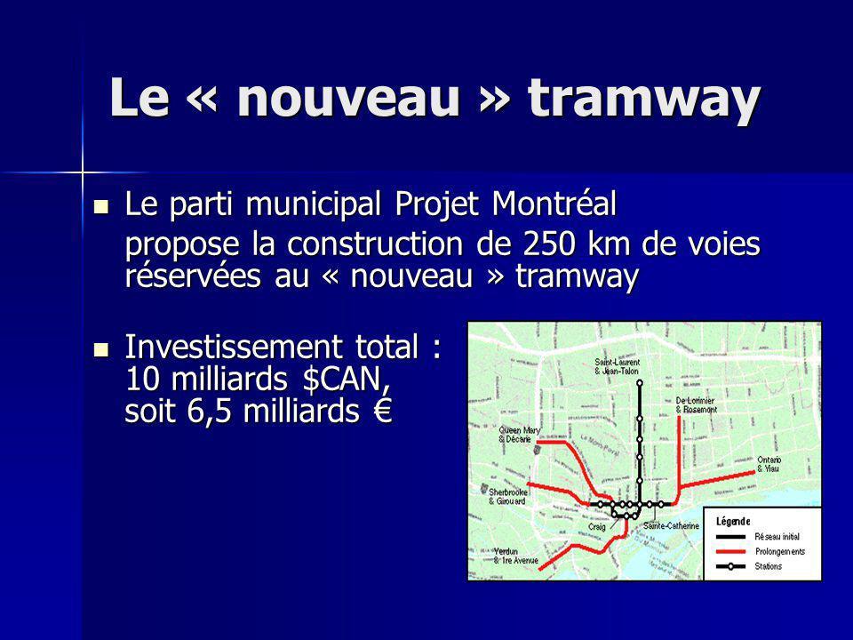 Le « nouveau » tramway Le parti municipal Projet Montréal Le parti municipal Projet Montréal propose la construction de 250 km de voies réservées au «
