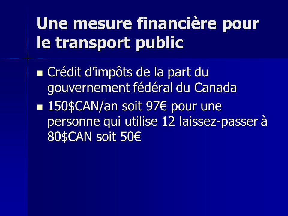 Une mesure financière pour le transport public Crédit dimpôts de la part du gouvernement fédéral du Canada Crédit dimpôts de la part du gouvernement f