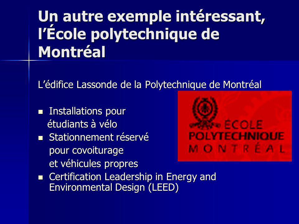 Un autre exemple intéressant, lÉcole polytechnique de Montréal Lédifice Lassonde de la Polytechnique de Montréal Installations pour Installations pour
