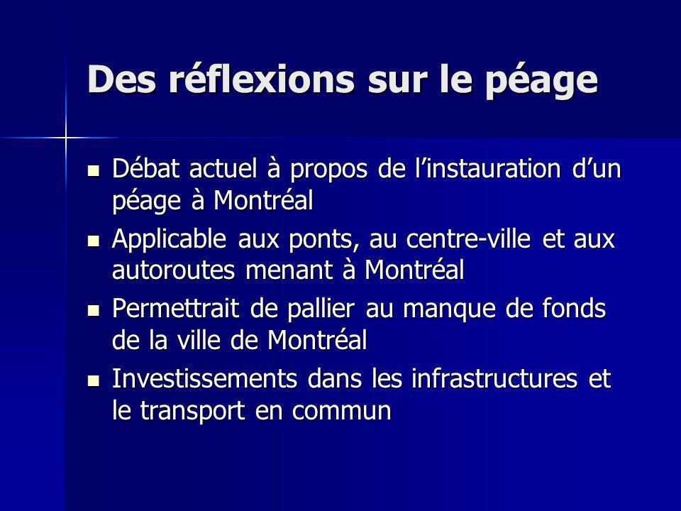 Des réflexions sur le péage Débat actuel à propos de linstauration dun péage à Montréal Débat actuel à propos de linstauration dun péage à Montréal Ap