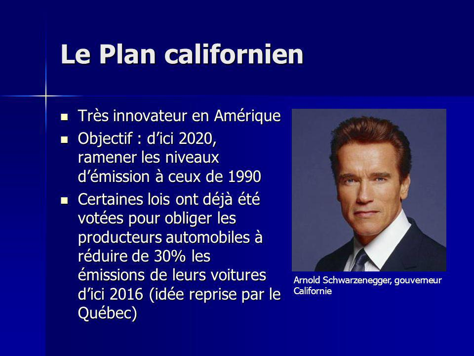 Le Plan californien Très innovateur en Amérique Très innovateur en Amérique Objectif : dici 2020, ramener les niveaux démission à ceux de 1990 Objecti