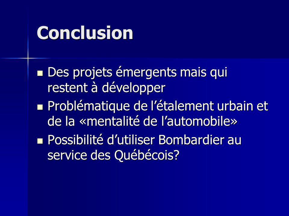 Conclusion Des projets émergents mais qui restent à développer Des projets émergents mais qui restent à développer Problématique de létalement urbain