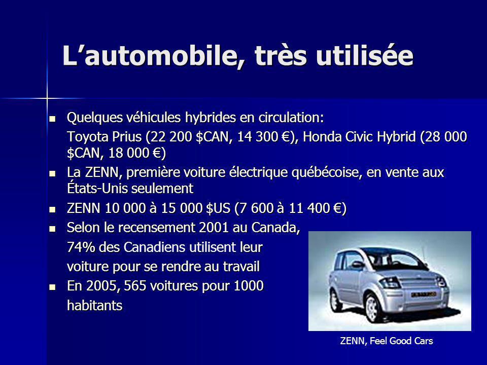 Lautomobile, très utilisée Quelques véhicules hybrides en circulation: Quelques véhicules hybrides en circulation: Toyota Prius (22 200 $CAN, 14 300 )