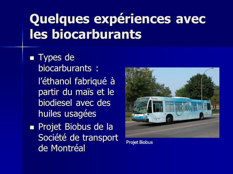 Quelques expériences avec les biocarburants Types de biocarburants : Types de biocarburants : léthanol fabriqué à partir du maïs et le biodiesel avec